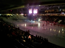 At a Guelph hockey game just before it started