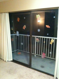 Our sliding doors with Christmas stickers on