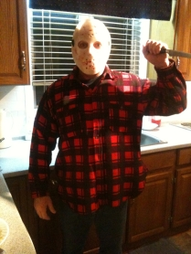 Scott dressed as Jason from Friday the 13th