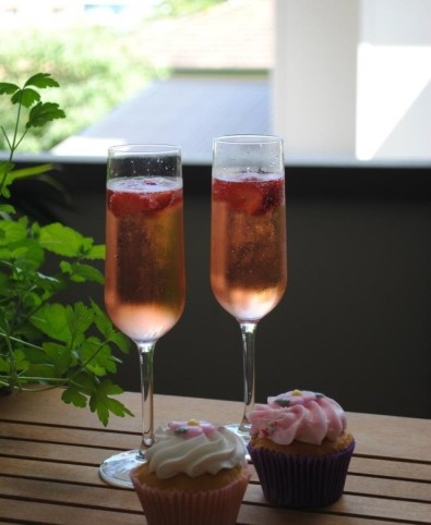 Champagne and cupcakes on my birthday in April