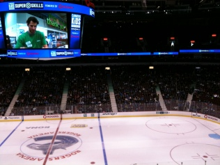 A shot of the arena before the competition started and Kesler on the big screen