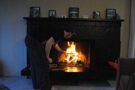 Rob poking the fire