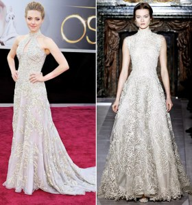 Amanda Seyfried on the left and a model wearing the Valentino dress Anne Hathaway was supposed to wear on the right