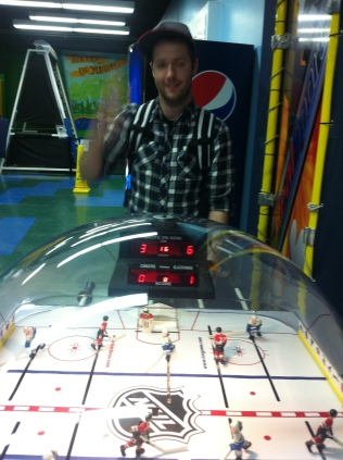 Playing table hockey at the Hall of Fame