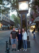 Darin, Carol and me in front of the steam clock in Gastown