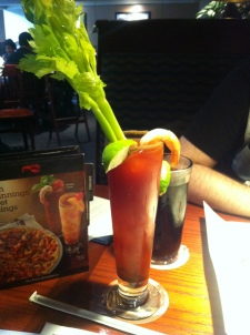 A delicious Caesar with a shrimp