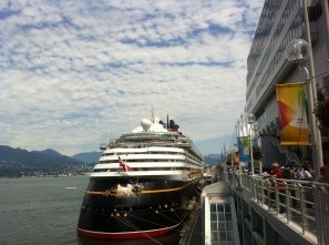 There was a Disney Cruise ship docked at Canada Place