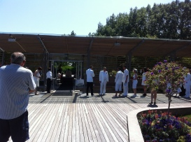 A wedding happening in the park