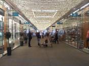 A shopping area with pretty lights!