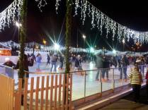 The ice rink at night - very busy!