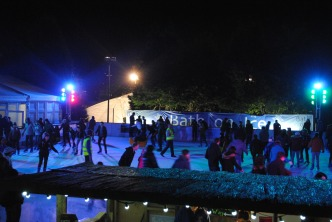The ice rink at night