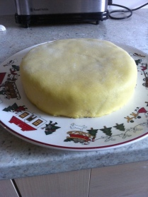 Marzipan covered Christmas cake